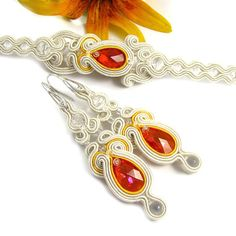 Wedding Bridal Jewelry Set Soutache Earrings and от byPiLLowDesign