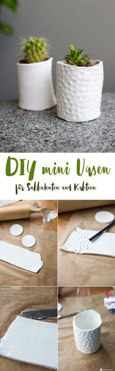 DIY mini Vasen für Sukkulenten selbermachen - Schritt für Schritt Anleitung von Kreativfieber