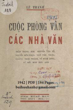 Cuộc Phỏng Vấn Các Nhà Văn (NXB Đời Mới 1942) - Lê Thanh, 184 Trang | Sách Việt Nam Van, Personalized Items, Vans, Vans Outfit