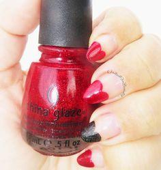 United In Beauty: Glittery Red & Black Stiletto Hearts