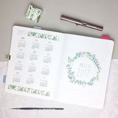 ere are my two first pages for And thank you for your sweet words on my year at a glance 🙂. I am feeling so thankful and cheerful Bullet Journal Notes, Bullet Journal Layout, Bullet Journal Inspiration, Bullet Journal Year At A Glance, Bullet Art, Bullet Journel, Pen And Paper, Journal Pages, Journal Notebook