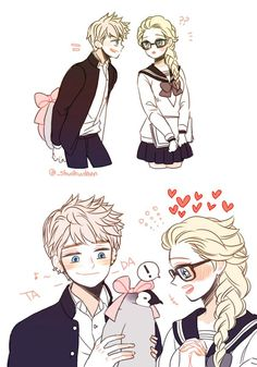 Jack giving elsa a penguin