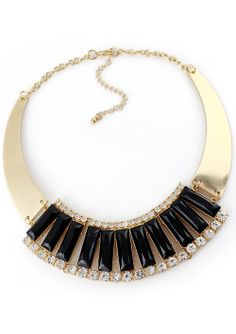Collar dorado piedras negro EUR€6.13