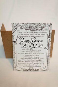 custom vintage style hand illustrated wedding invitation design