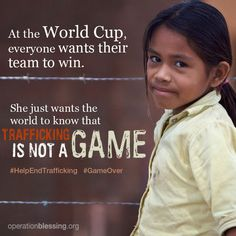 All eyes are on the World Cup as it launches today in Brazil, but how many people are thinking about the trafficked children in Brazil today?  #HelpEndTrafficking #WorldCup #OperationBlessing