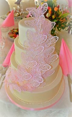 Ivory & Pink Lace  Butterflies Wedding Cake