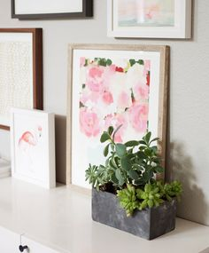 A round up of our favorite spring art work from Minted. Love the floral peony print combined with the graphic print and the quirkiness of the flamingo print.
