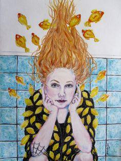 Painting by Anastasia Theodoridoy, Karin känd för bloggen Karins konstgrepp/ målad med vaxkrita, akrylfärg och tusch på akvarellpapper i A3-format