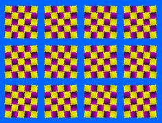 At first this one may be hard to see, but if you begin to scan back and forth across the image you will notice that the squares in your periphery begin to rotate. As soon as your eyes stop moving, however, rotation will cease.