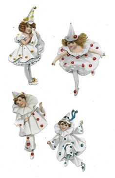 Vintage Circus, Vintage Paper Dolls, Vintage Diy, Vintage Images, Decoupage, Pierrot Clown, Collages, Shabby Chic Baby Shower, Vintage Valentines