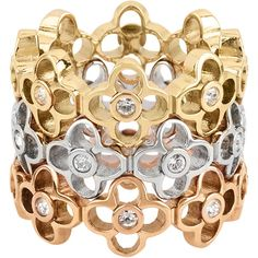 Henri Bendel Iconic Charm Stack Ring ($128) ❤ liked on Polyvore featuring jewelry, rings, metallic multi, henri bendel jewelry, metallic jewelry, stacking rings jewelry, rose jewelry and rose charm