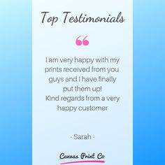 Top Testimonials from our happy customers ❤️ 🌟🌟🌟🌟🌟 Framed Prints, Canvas Prints, Wood Print, Happy, Top, Photo Canvas Prints, Ser Feliz, Happiness, Crop Tee