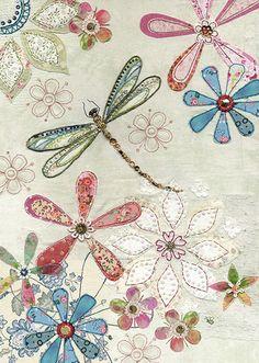 Floral Dragonfly - Bug Art greeting card