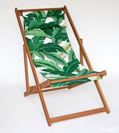Tahiti Deck Chair palms printed outdoor fabric on white oak folding chair outdoor furniture Tahiti, Outdoor Folding Chairs, Round Floor Pillow, Butterfly Chair, Deco Design, Beach Chairs, Patio Chairs, Room Chairs, Side Chairs