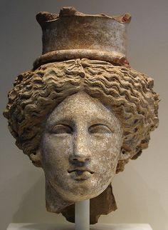 Sicilian Head of Demeter or Kore Terracotta, circa 350-300 BC,  in the Getty Villa museum
