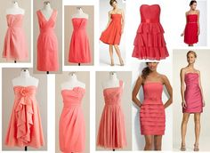 BonnieProjects: Wedding Wednesday: Mismatched Coral Bridesmaid Dresses