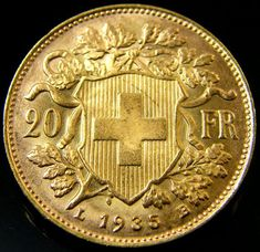 UNC SWISS 20 FRANCS GOLD COIN 1935 CO 165
