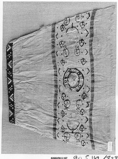 I especially like the trim right at the edge of the sleeve.  Object Name:      Fragment  Date:      8th–10th century  Geography:      Egypt  Medium:      Wool, linen; plain weave, tapestry weave  Dimensions:      7.87 in. high 7.00 in. wide (20 cm high 18 cm wide)  Classification:      Textiles  Credit Line:      Gift of George F. Baker, 1890  Accession Number:      90.5.167