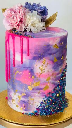 Cake Decorating Frosting, Creative Cake Decorating, Cake Decorating Videos, Cake Decorating Techniques, Teal Cake, Fondant Cake Tutorial, Simple Cake Designs, Chocolate Drip Cake, Cake Mix Recipes
