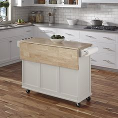 Kuhnhenn Kitchen Cart with Wood Top - Kitchen - Best Kitchen Decor! White Kitchen Cart, Kitchen Island On Wheels, Diy Kitchen Island, Rustic Kitchen, New Kitchen, Kitchen Decor, Kitchen Island For Small Kitchen, Kitchen Ideas, Rolling Kitchen Island