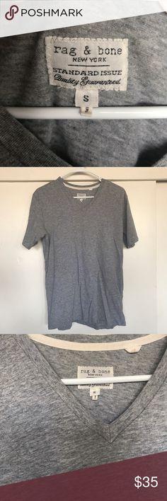 RAG & BONE MEN'S GREY V NECK SMALL RAG & BONE Grey V NECK Small rag & bone Shirts Tees - Short Sleeve