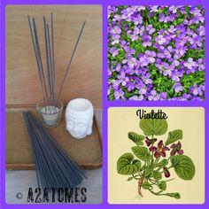 Encens parfum violette en bâton aux Huiles essentielles naturelles - pochette de 10 bâtons de la boutique A2ATOMES sur Etsy