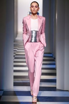 A pink pantsuit with sequin embellished top from Oscar de la Renta's fall-winter 2017 collection