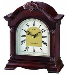 Seiko Jester Desk Clock w/ Westminster or Whittington Chime - Nighttime Silencer Mantel Clocks, Desk Clock, Wooden Case, Westminster, Seiko, Night Time, Quartz, Cherry, Dark