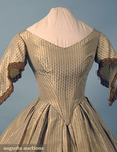 Late 1850's, cream silk with green verticle dash brocade, evening dress bodice view without pelerine.