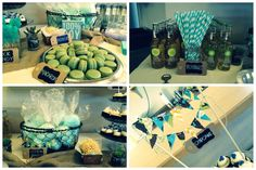 baby boy vintage hot air balloon shower -- details of the baby shower's dessert bar: rock candy, Izze, macarons, pizzelles, cotton candy, and mini cupcakes with bunting