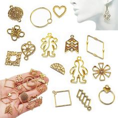 10Pcs Gold plated Metal Beads Geometric Pendant Dangle Drop Earrings Findings