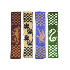 Hogwarts Double-Knitted Bookscarves Pattern - free on Ravelry