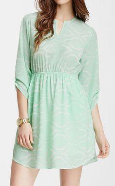 3/4 Length Sleeve Split Neck Dress