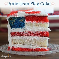 A patriotic cake with a flag in every slice! Check out the genius trick that will get you more oohs and aahs than a fireworks display. YUM!