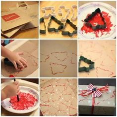 diy christmas wrapping paper - cookie cutters