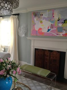 I need the light fixture, the acrylic bench and the painting....perfect for my living room!