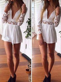 Lace Embellished Long Sleeve Jumpsuit