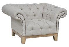 """Ferrence  Sofa Chair on OneKingsLane.com $799.00/ Retail $1,860.00 Made of:frame, birch; upholstery, linen; fill, foam; nail-head trim, brassSize:47""""W x 36""""D x 26""""HSeat height:17""""Color:frame, natural; upholstery, cement; nail-head trim, brass"""
