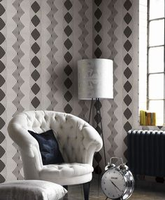 Curvaceous - Black and White wallpaper design...  $396.00 including GST for a 1.06m wide x 15.5m drop (16m2 - enough for a large feature wall). Sample available. From www.silkinteriors.com.au