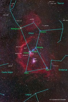 """Orion. Seven bright stars form the body of Orion, making it visible even in a city.  They are labeled in green in this image. The three evenly-spaced stars of the """"belt"""" are easy to pick out in the sky.  So are two very bright stars whose colors are distinct.  Rigel is a blue supergiant which forms the hunter's left foot and Betelgeuse, a red supergiant, is his right shoulder.(Image: R. Gendler and S. Guisard). ©Mona Evans, """"Orion the Hunter"""" http://www.bellaonline.com/articles/art19756.asp"""