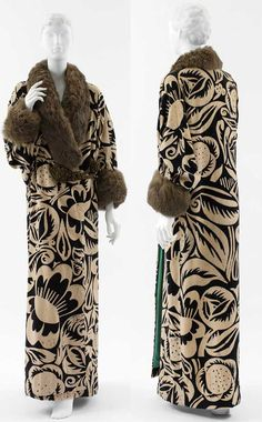 Coat, Paul Poiret, 1911; textile design by Raoul Dufy. Ivory and navy block-printed velvet with brown fur trim and gold metallic mesh-covered silk closures.