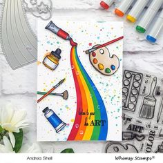 Today I'm sharing a card featuring two new products from Whimsy Stamps: the Artist Toolkit stamp set and the Array of Rainbows Die Set. Bullet Journal Lettering Ideas, Bullet Journal Writing, Bullet Journal School, Bullet Journal Ideas Pages, Bullet Journal Inspiration, Cool Art Drawings, Colorful Drawings, Art Drawings Sketches, Easy Drawings