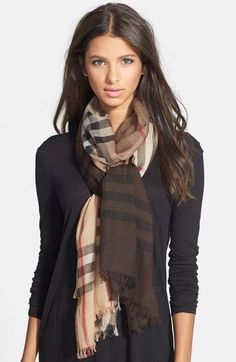 MSRP$435.00 BURBERRY OMBRE STYLE CHECK WOOL/SILK SCARF 100% AUTHENTIC #76 #Burberry #Scarf #ANY