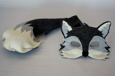 Silver the Grey Fox Mask and Tail Pretend Play by HuntingFaeries