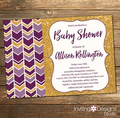 Tribal Baby Shower Invitation, Purple and Gold, Girl, Aztec, Arrows, Baby Girl, Neutral, Gold Glitter, Boho, Purple, Gold (PRINTABLE FILE) by InvitingDesignStudio on Etsy