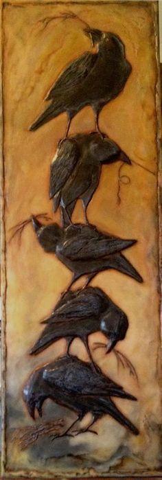 Diane Kleiss sculpted encaustic, crow stack, totem, black and orange Crow Art, Raven Art, Bird Art, Totems, Quoth The Raven, Jackdaw, Crows Ravens, Encaustic Painting, Spirit Animal