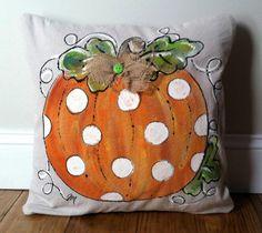 Polka-dot Pumpkin, Hand-painted Fall Pillows, Halloween, Thanksgiving, Pillow Cover Pillow Cover Polka Dot Pumpkin Hand-painted Fall by SippingIcedTea. Monogram Pillows, Burlap Pillows, Decorative Pillows, Throw Pillows, Accent Pillows, Fall Sewing, Felt Pillow, Pumpkin Pillows, Halloween Pillows