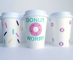 Tired of the boring old coffee cups? Brighten up your day with our DONUT WORRY paper coffee cups. ABOUT OUR CUPS: ► Our cups are biodegradable