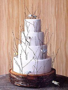 Bolo de casamento doce romântico detalhes pássaros