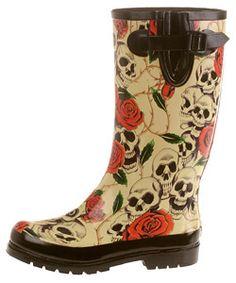 On Your Feet Rasp Skull and Rose Print Rain Boots - Too cute!